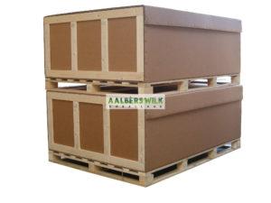 Kartonnen kisten op maat gemaakt, aan 4 zijden inrijdbaar door pompwagen of vorkheftruck