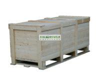 Kist geschikt voor wegtransport, aan 4 zijden inrijdbaar door pompwagen of vorkheftruck