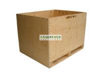 Kist van multiplex, aan 2 zijden inrijdbaar met pompwagen