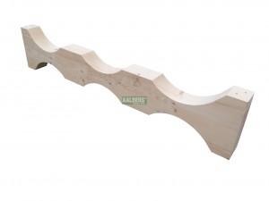 stophout met uitgefreesde inkepingen tbv opslag van buizen