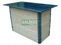 balie meubilair met verzinkte dekplaat, opbouw dmw scharnierende opzetranden, vouwbaar en stapelbaar